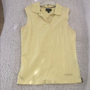 Yellow Vintage Burberry Golf Sleeveless Polo Shirt